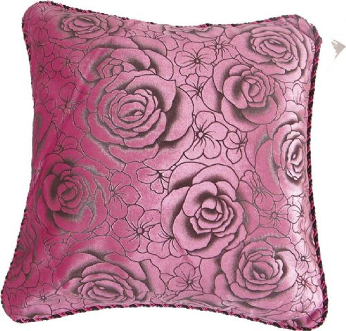 CHENILLE FLORAL ROSES CUSHION FUSHIA PINK COLOUR